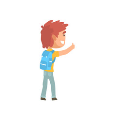 Cartoon male traveler hitchhiker with backpack vector