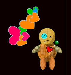 cartoon voodoo doll character vector image