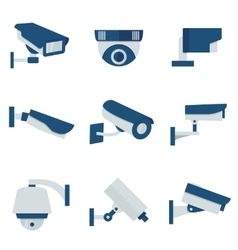 CCTV security video camera flat icons set vector