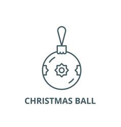 christmas ball with decor line icon vector image