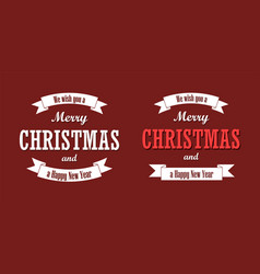 christmas text white ribbon set merry vector image