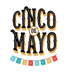 Cinco de mayo poster design with flags vector