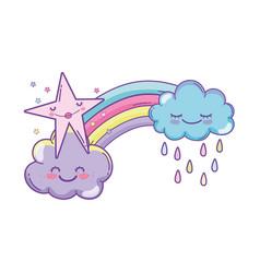 Clouds and rainbow cartoon vector