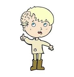 Comic cartoon boy with growth on head vector