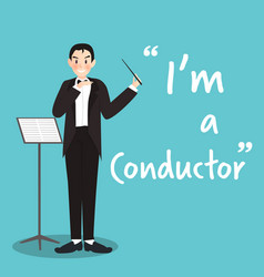 conductor character on sky blue background flat vector image