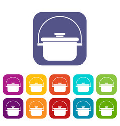 Cooking cauldron icons set vector