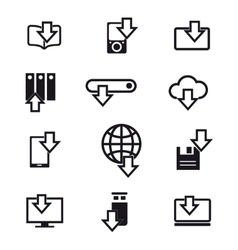 Different devices downloading line icons vector