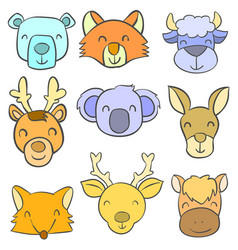 Doodle of animal cute design for kids vector