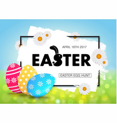 easter egg hunt holiday banner design with eggs vector image
