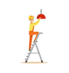electrician standing on a stepladder installing vector image