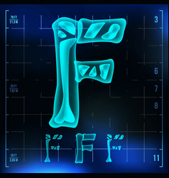 F letter capital digit roentgen x-ray vector