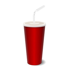 fast food paper cup with tube vector image