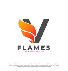 Flame with letter v logo design fire logo template vector