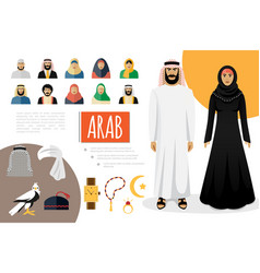 flat arab culture elements composition vector image