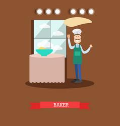 flat of baker making dough vector image