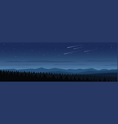 Forest at night landscape scene vector