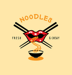 Fresh and chewy noodle logo with mouth eat noodle vector