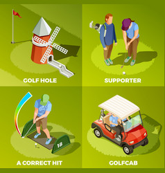 golf 2x2 isometric design concept vector image