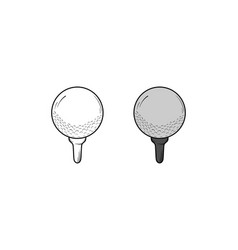 golf ball hand drawn sketch and color vector image