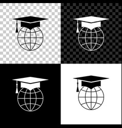 graduation cap on globe icon isolated on black vector image