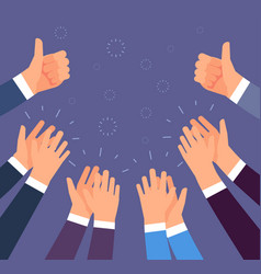 Hands clapping thumbs up and applause gestures vector