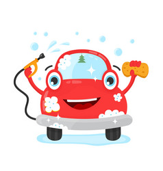 Happy cute fun clear car with hose and washcloth vector