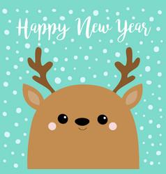 Happy new year raindeer deer head face big horns vector