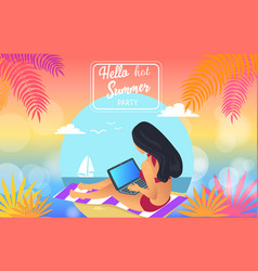 hello hot summer party poster vector image