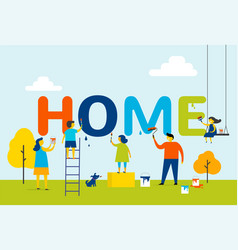 Home - family is painting letters together vector