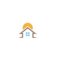 home symbol a big sun behind house for logo vector image