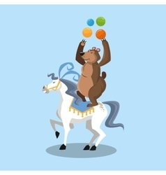 Horse and bear of circus and carnival design vector