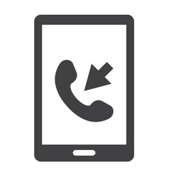 incoming call solid icon contact us and website vector image