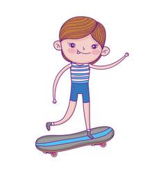 little boy riding skateboard cartoon character vector image