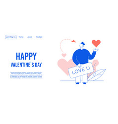 Love declaration on valentine day landing page vector