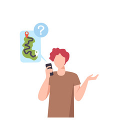 man using smartphone for navigation and route vector image