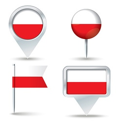 Map pins with flag of Poland vector image