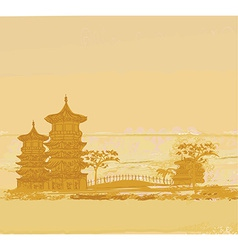 old paper with Chinese old building on abstract vector image