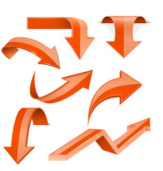 orange arrows 3d shiny set of icons vector image