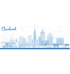 outline cleveland ohio city skyline with blue vector image