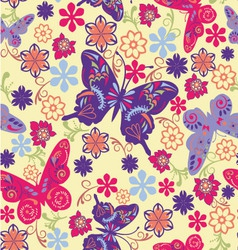 Pattern of butterflies and flowers vector