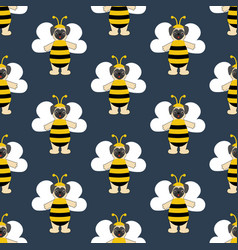 pug in bee costume seamless pattern vector image