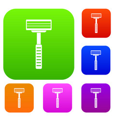 razor set color collection vector image