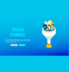 sales funnel banner vector image