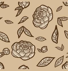 Seamless pattern beige color peony flower sketch vector