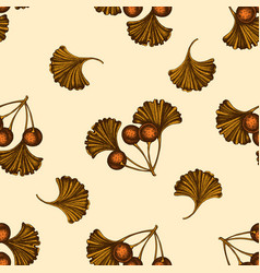 seamless pattern with hand drawn colored ginkgo vector image