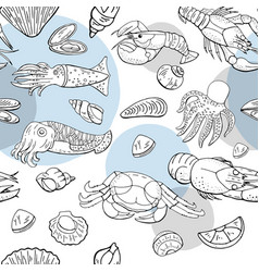 seamless pattern with seafood and fish vector image