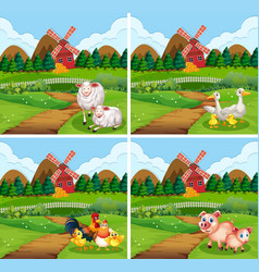 set farm animal in nature vector image