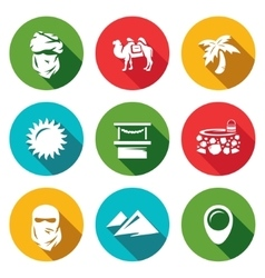 Set middle east icons arab camel palm vector