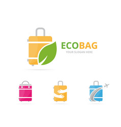 Set of bag logo combination baggage and eco vector