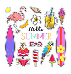 Set of fashion summer stickers 1 vector